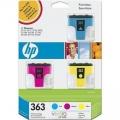Pachet cu 3 cartuse inkjet originale CMY HP363 VIVERA (CB333EE) - Cyan/Magenta/Yellow